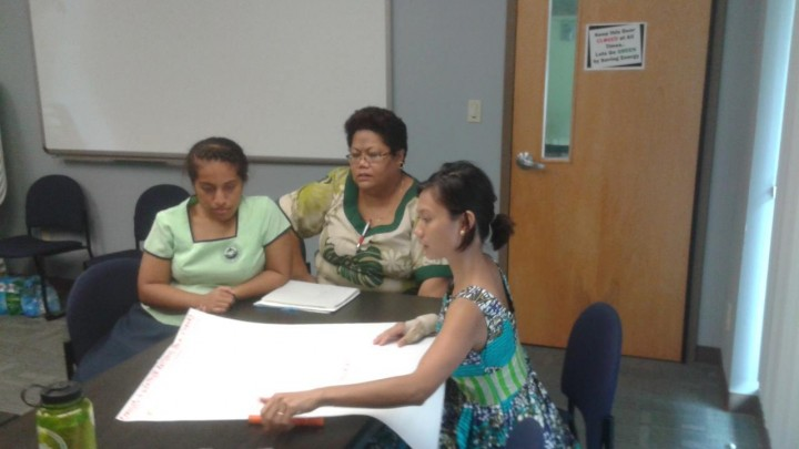 A small group in American Samoa brainstorms the major climate change impacts to the Territory.