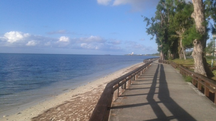 The walkway along Beach Road in Garapan, CNNI.