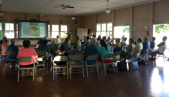 Image: Local residents convened on July 18, 2016 at Kalanianaʻole Hall to discuss the future of Moloka'i in a changing climate. Guests included Dr. James Jacobi (USGS Pacific Island Ecosystems Research Center), Dr. Paul Hosten (National Park Service), Dr. Tom Giambelluca (University of Hawaii Department of Geography), Nancy McPherson (Department of Hawaiian Homelands), Glenn Teves (UH College of Tropical Agriculture and Human Resources), Jeannine Rossa (Ecolink Consulting), Dr. Stephanie Dunbar (The Nature Conservancy), and Dr. Bradley Romine (UH Sea Grant).