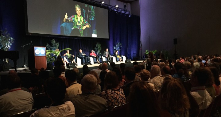 Sally Jewell, the United States Secretary of the Interior, speaks on a panel during the IUCN World Conservation Congress in Honolulu.Sally Jewell, the United States Secretary of the Interior, speaks on a panel during the IUCN World Conservation Congress in Honolulu.