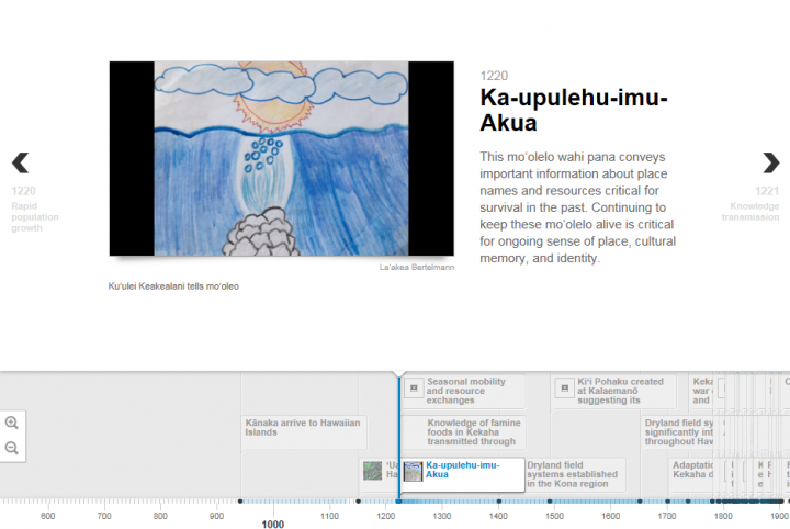 Screenshot from the online Timeline that includes video of a mo'olelo told by Ku'ulei Keakealani and illustrated by family members from Ka'ūpūlehu.